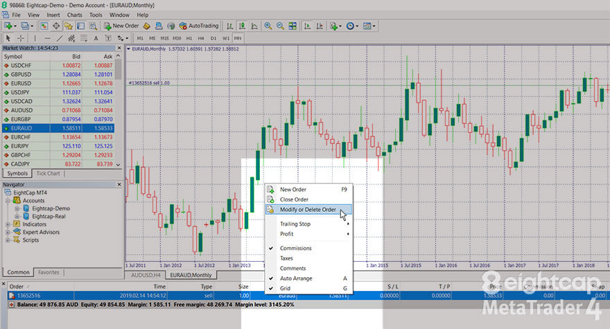 Modify or Delete Order option from right-click menu on a trade order in MT4