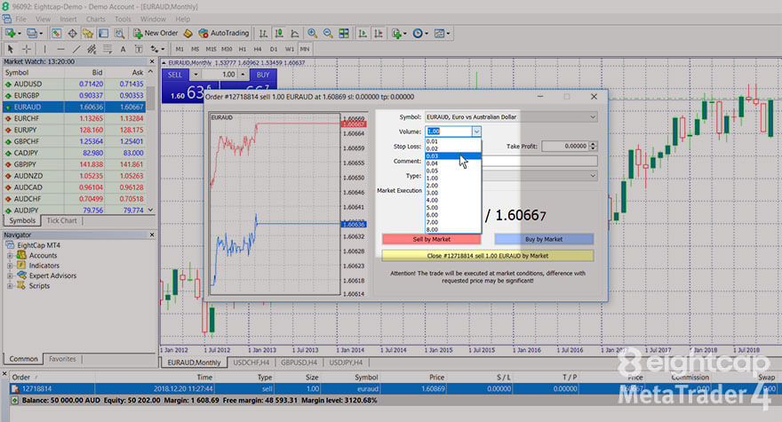 Select Volume for a partial close in the Order window in the MT4 platform