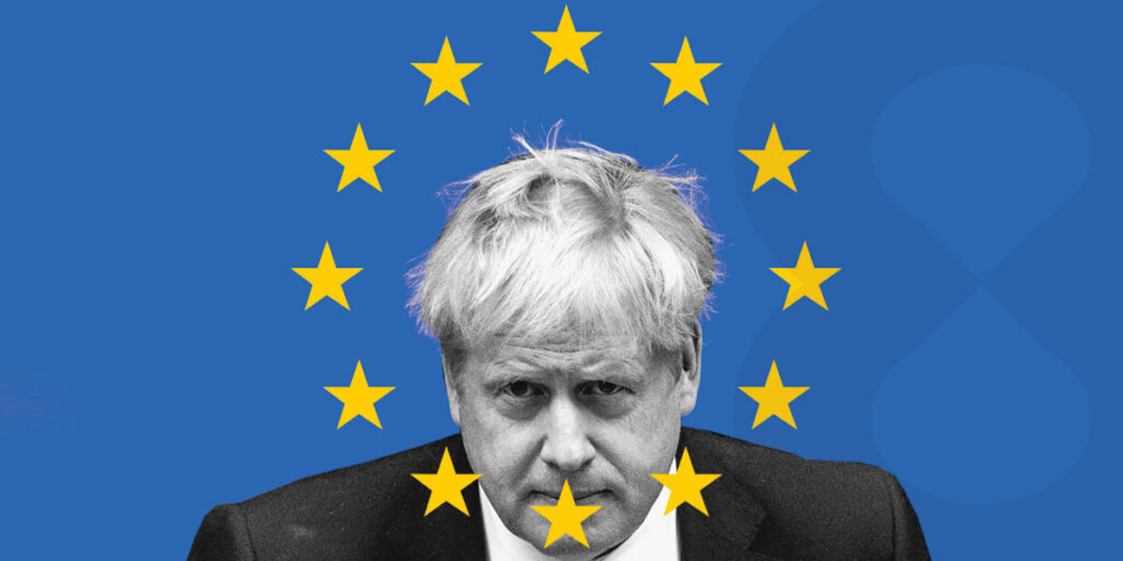 Edited photo of the PM of the UK Boris Johnson with the flag of the EU around his head