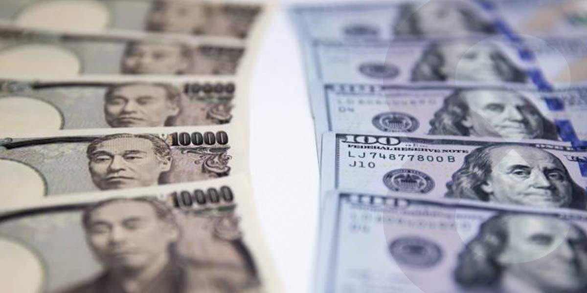 Japanese Yen and US Dollar banknotes in 2 lines