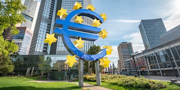 The logo of the European Central Bank in front of its building