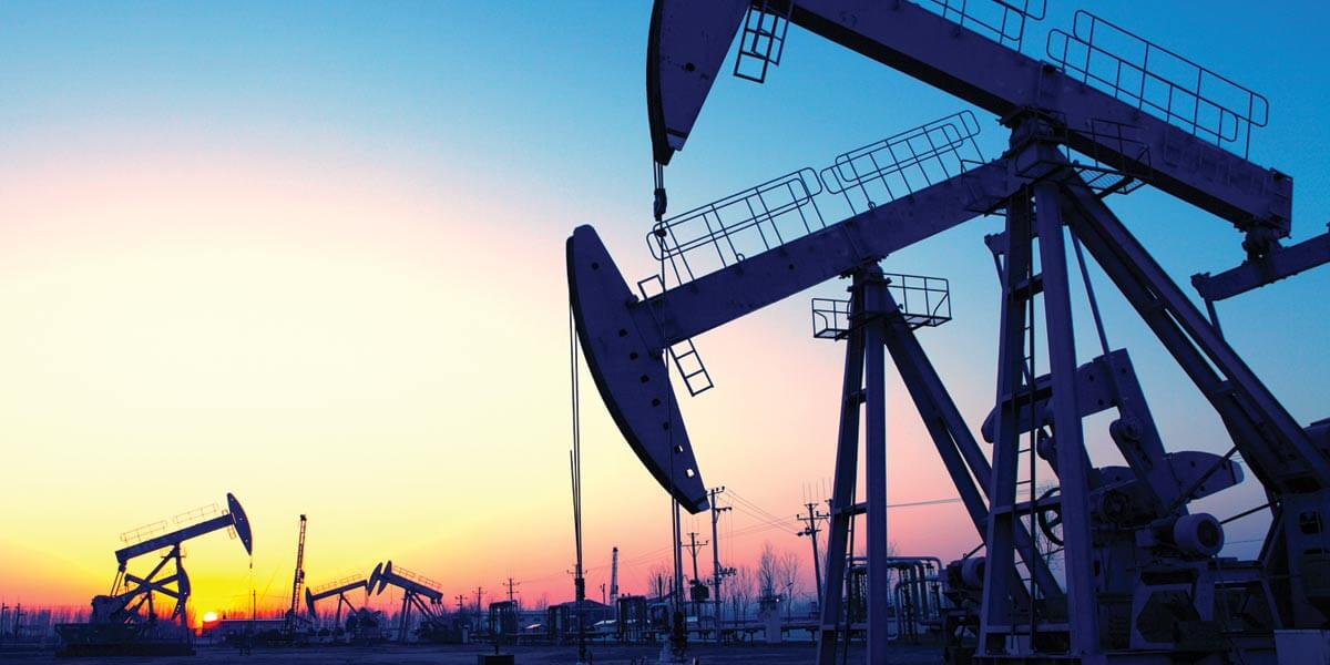 Oil Probes pictured during a sunrise