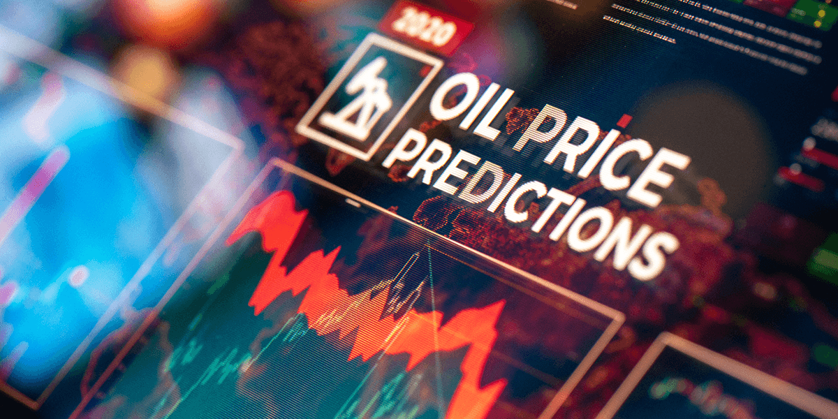 'Oil Price Predictions' Title on a screen with charts