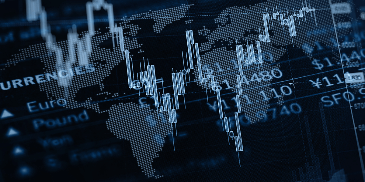 Graphic image of charts with the map of the World in the background