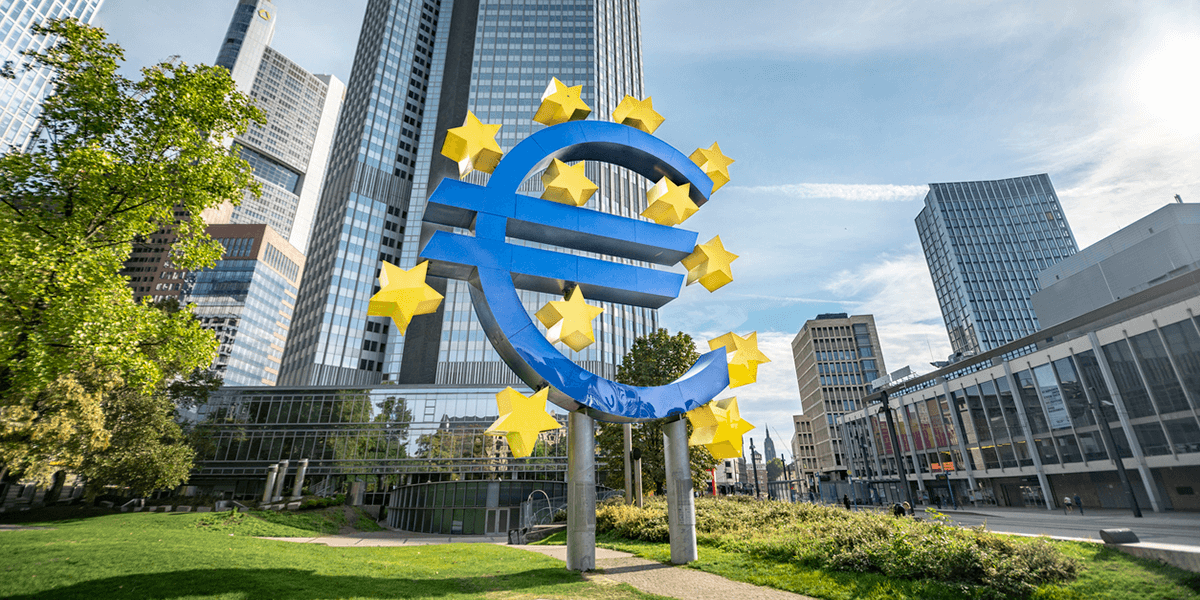 Euro sign in front of the European Central Bank