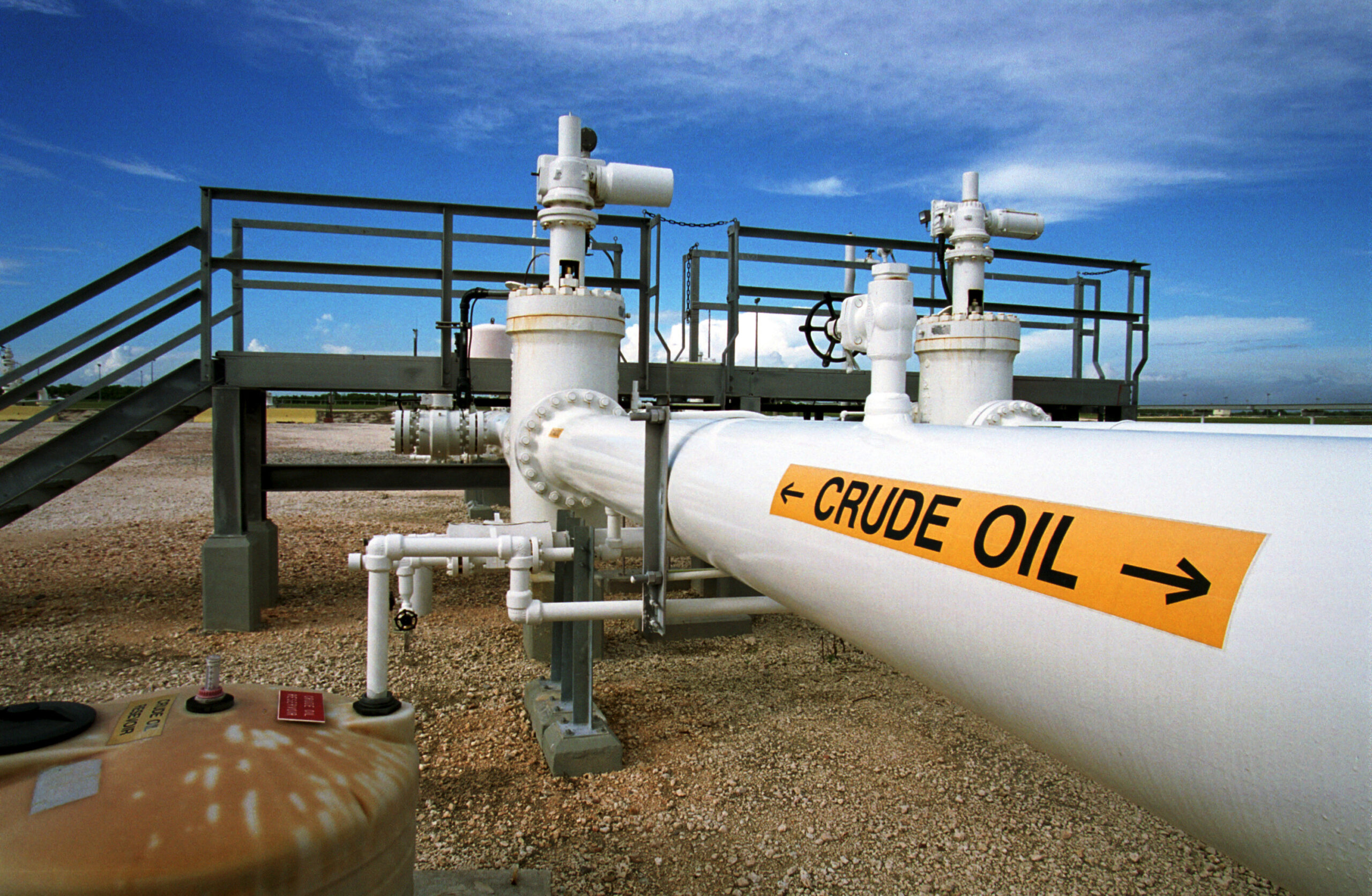 A crude oil pipeline at the Federal Strategic Petroleum Reserve facility