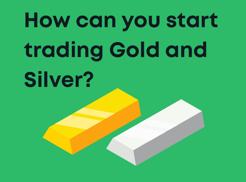 A cartoon with gold and silver bars, titled 'How can you start trading Gold and Silver'