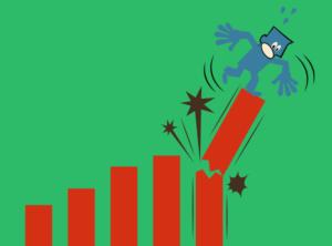 Cartoon showing a man falling off a column chart
