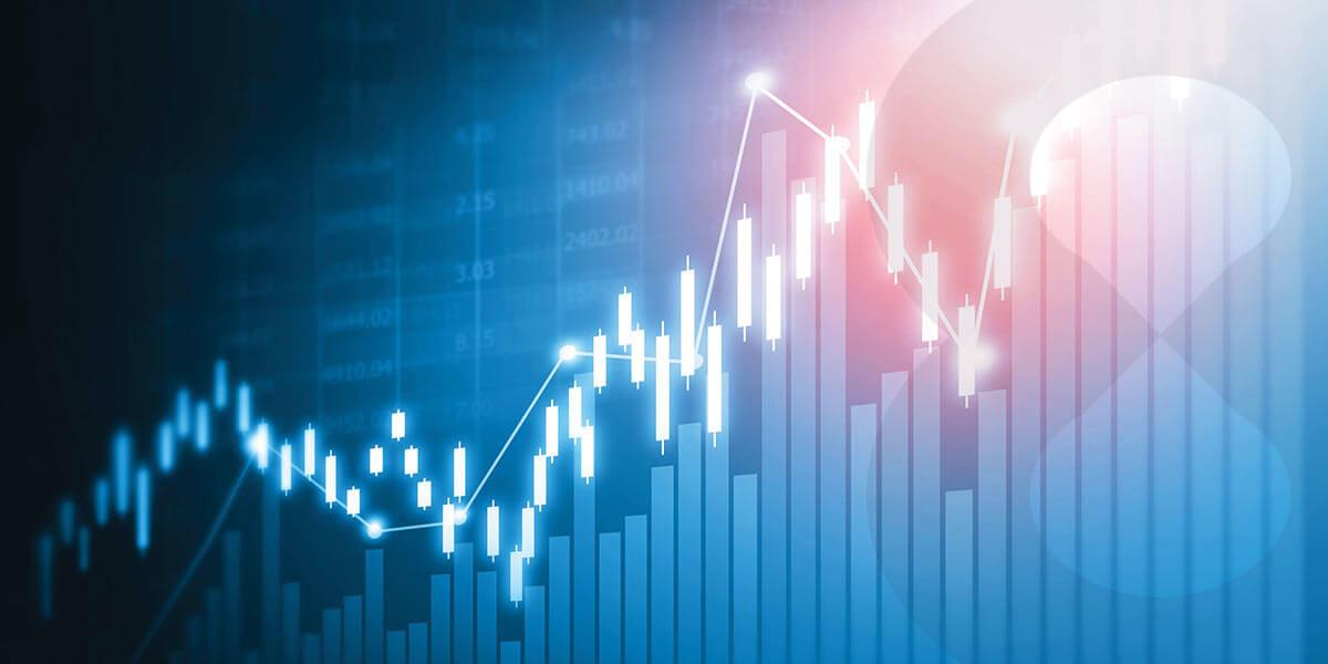 Stocks trading candlesticks chart