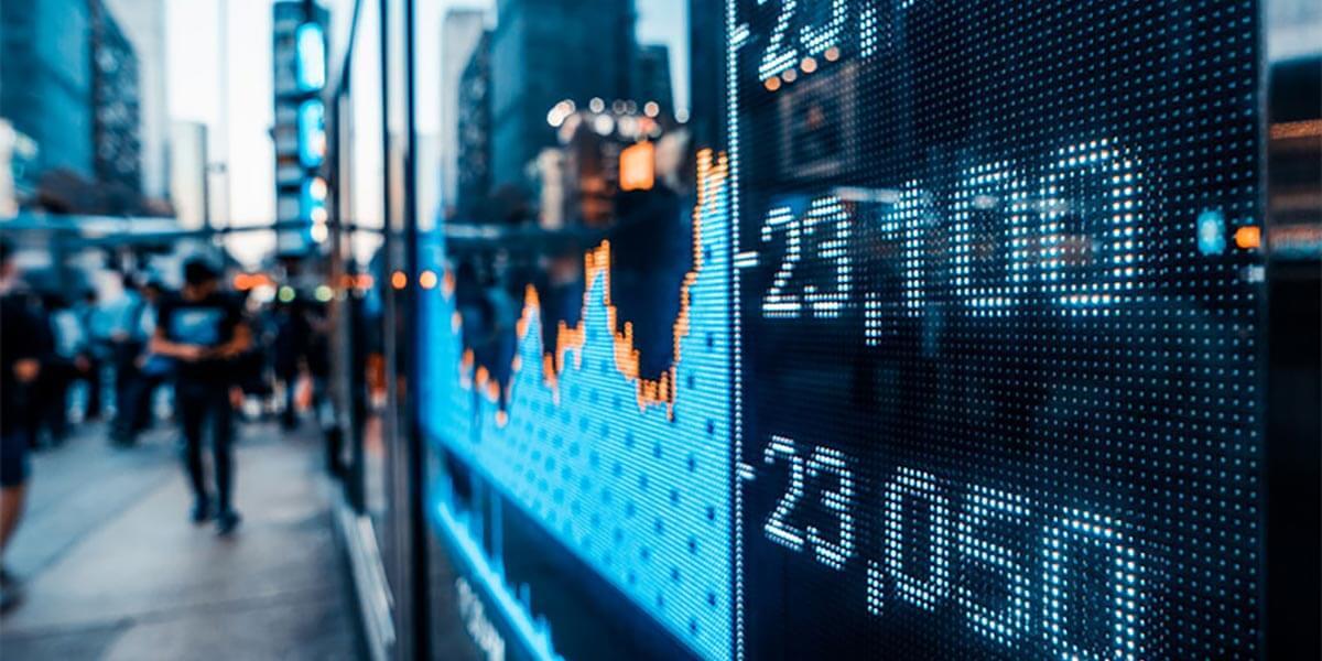 Stocks charts on Wall Street