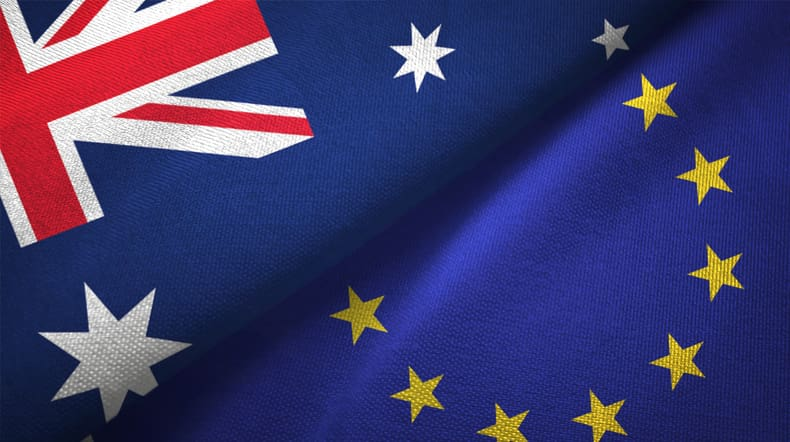 The flags of Australia and the European Union