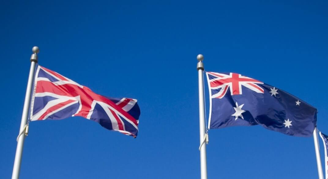 The Flags of Great Britain and Australia.