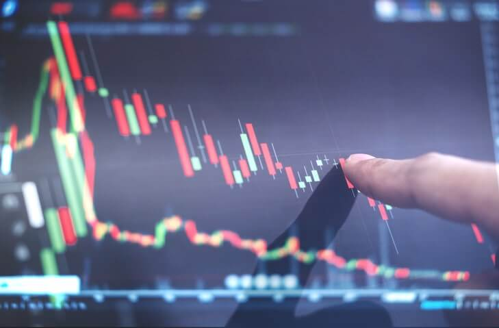 Person's finger pointing at candlestick chart on a screen.
