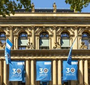 The facade of the Deutsche Borse in Frankfurt, Germany