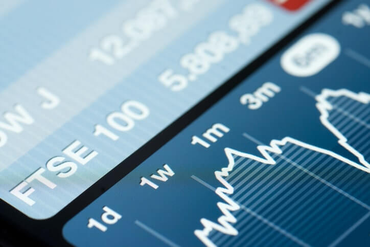 A phone screen showing the FTSE100 price chart