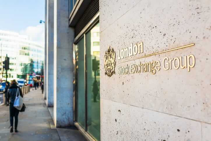 A sign on the outside of London's Stock Exchange in the City of London