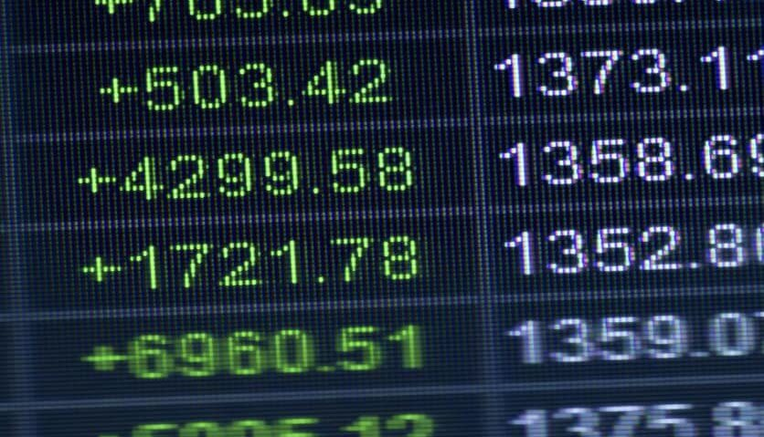 Stocks prices on a screen.