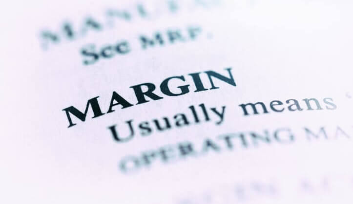 The word 'margin' in a dictionary.