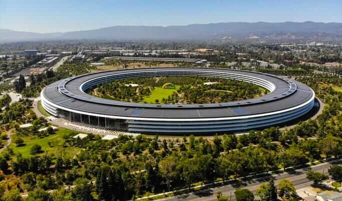 Aerial photo of the Apple Inc. Headquarters.